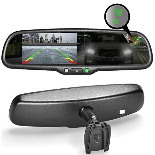 "Master Tailgaters OEM Rear View Mirror with Ultra Bright 4.3"" Auto Adjusting Brightness LCD + Auto Dimming Mirror + Compass & Temperature - Universal Fit (Complete Replacement)"