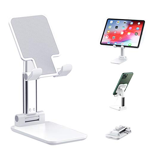 Adjustable Cell Phone Stand, Foldable Phone Holder Tablet Stand for Desk, Angle Height Adjustable Cell Phone Stand Compatible with Phone 11 Pro Xs Xs Max Xr, iPad Mini, Nintendo Switch,Tablets(White)