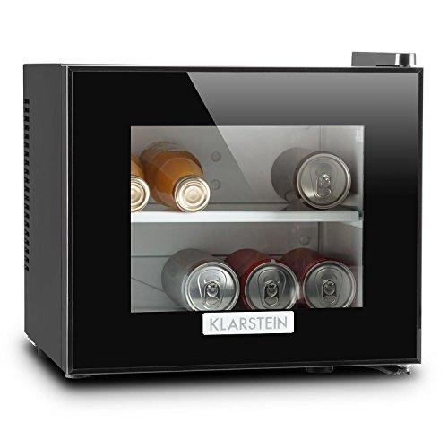 Klarstein Frosty koelkast met glazen deur - minikoelkast, minibar, 10 liter, 33,4 x 30,3 x 31,5 cm, 1 x inzetrek, instelbare temperatuur, glazen raamfront, LED, zwart