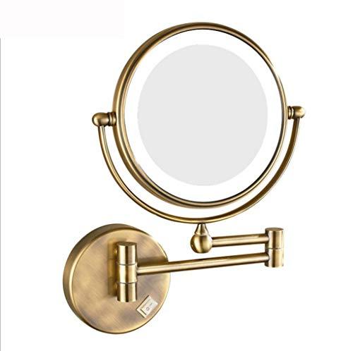 DPLQX wandbeugel badkamerspiegel, LED dubbelzijdig draaibare wandsteun wastafel spiegel 8-inch verlichte make-up spiegel dubbelzijdige spiegels