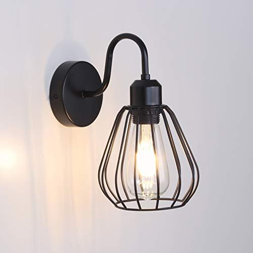 MantoLite Schwarz Käfig Wandleuchte Licht,E27 Edison Bulbs Lampenhalter, Industrielles Nachttisch Lampe Leseleuchte Leuchte Beleuchtung Fixture Für Wohnzimmer Flurtreppen (Ohne Glühbirne)