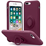 MHH Compatible with iPhone 8 Plus Case, iPhone 7 Plus Case, Kickstand   Anti-Scratch   Silky-Soft Silicone Full-Body Protective Microfiber Liner Shock Absorption Gel Rubber Case-WineRed