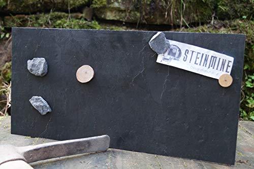 Magnettafel Echt Schiefer 4 In 1 (Magnetwand+Kreidetafel+Pinnwand+Wandbild) Naturstein Magnetboard inkl 1x Steinmagnet und 1x Kreidestück Größen 30x60cm, 40x60 cm, 80x60cm (Grey Impact, 40cm x 61cm)