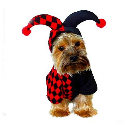 DAYOLY Huisdier Kostuum Halloween Clown Pak Hoodie Jumpsuit Grappige Huisdier Cosplay Warm Kleding voor Katten Puppy Chihuahua Dressing up Party Halloween Kerst Festival Activiteit