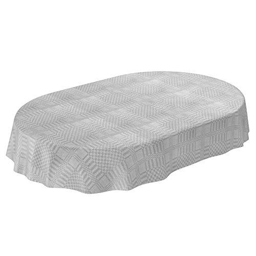 ANRO Wachstuch Tischdecke abwaschbar Wachstuchtischdecke Wachstischdecke Textiloptik Glatt Grau Oval 180x140cm