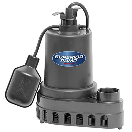 Superior Pump 92570 1/2 HP Thermoplastic Submersible Sump Pump with Tethered...