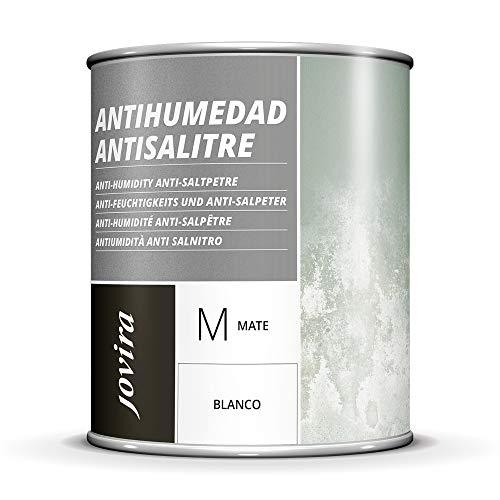 PINTURA ANTIHUMEDAD ANTISALITRE BLANCO MATE impermeabilizante,Protege y aísla fachadas, muros, paredes (750 ML)