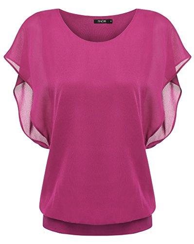 Zeagoo Damen Sommer Casual Loose Fit Kurzarm Fledermaus Batwing T-Shirt Shirt Chiffon Top Bluse, EU 42(Herstellergröße:XL), Rosarot