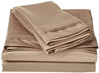 SGI bedding Short King Sheets Luxury Soft 100% Egyptian Cotton - Sheet Set for Short King 73x76 Mattress Taupe Solid 600 Thread Count Deep Pocket