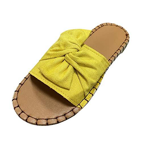 DAIFINEY Damen Hausschuhe Bowknot Bequem Pantoffeln Kuschelige Home Indoor Outdoor Slippers Freizeit rutschfeste(3-Gelb/Yellow,36)