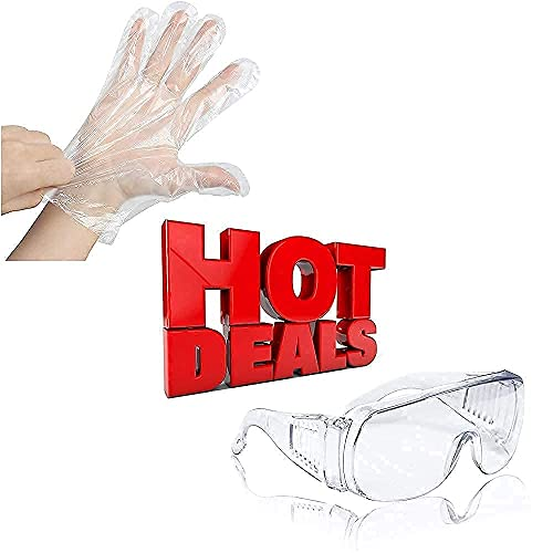 400PCS Plastic Gloves Disposable + Anti-Fog Safety goggles
