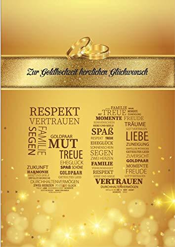 Elegante Glückwunschkarte Goldhochzeit goldene Hochzeit 50 Jahre Hochzeit Jubiläum Karte Gold