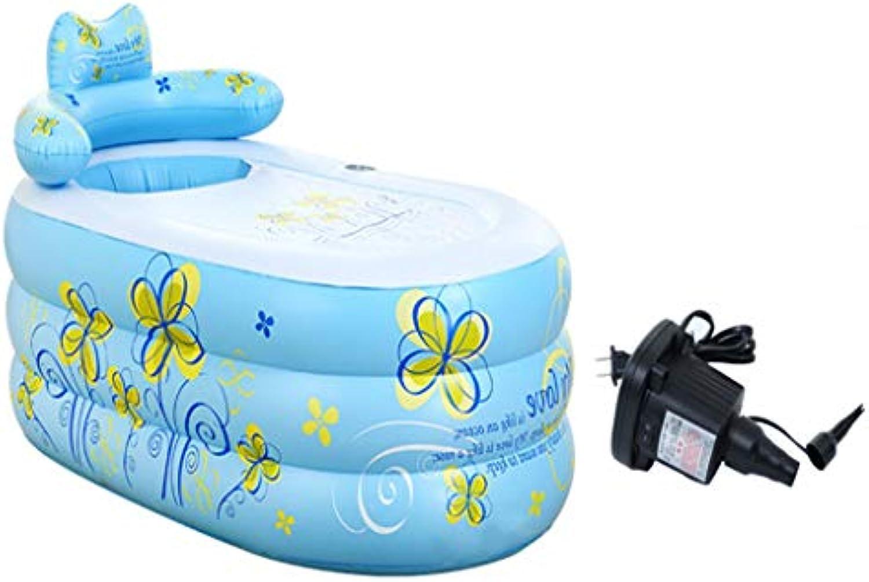 BYCDD Aufblasbare Badewanne Erwachsene FüR Dusche, Umwelt Faltbare Tragbar Baby Schwimmbecken mit elektrischer Luftpumpe Reise Becken Dusche Badefass,Blau_160x75x90CM