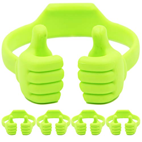 Cell Phone Tablet Stands (Pack of 5): Honsky Thumbs-up Cellphone Holder, Tablet Display Stand, Mobile Smartphone Mount Cradle for Desk Desktop - Universal, Multi-Angle, Cute, Green