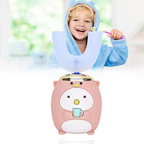 U-Shaped Children's Electric Toothbrush,Automatic Toothbrush,Kids Sonic Electric Toothbrush,IPX7 Waterproof Soft Silica Gel Brush Head for Toddler(2-6 Years Old-Pink)