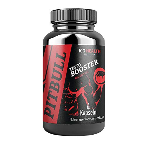 Pitbull Testo Booster – Red Edition – Pre Workout Booster Muskelaufbau (1 Dose je 4 Kapseln) – Booster Pre Workout Testosteron Booster Fitness