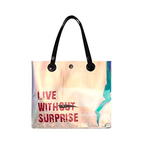 Fenical Frauen Handtasche Retro Transparent Shining Holographic Handtasche Mädchen Süßigkeitstasche Regenbogen Tasche Casual Bag (Farbe sortiert)