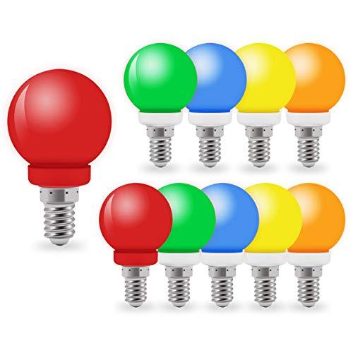 10er Pack farbige Glühbirnen, LED 1W E14 G45 Glühbirnen, gemischte Farben Rot Orange Grün Gelb Blau,Passend für Wohnkultur, Bühne, Party und Weihnachtsdekoration