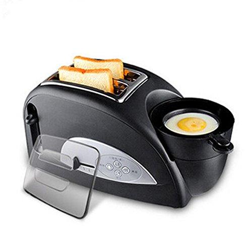 Toast and Egg Two Slice Toaster and Egg Maker, croissants rôtis Omelette petit déjeuner Entièrement automatique la température 1200 W pour la maison - Noir Multifonctions