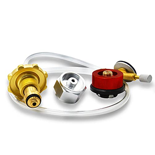 Multi-Function Propane Refill Adapter kit (with Hose) Form OPD Propane Tank to CGA600 Gas Tank, Butane or Iso Butane Cylinder