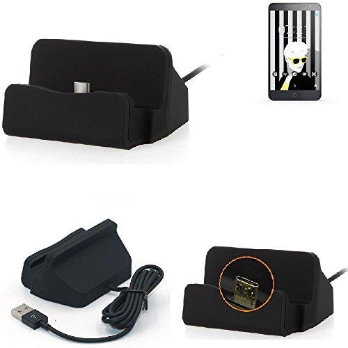 K-S-Trade Dockingstation Für Alcatel One Touch Pop 4+ Docking Station Micro USB Tisch Lade Dock Ladegerät Charger Inkl. Kabel Zum Laden Und Synchronisieren, Schwarz