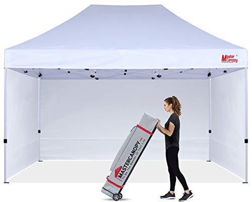 MASTERCANOPY Durable Pop-up Canopy Tent 10x15 Heavy Duty Instant Canopy with Sidewalls (White)