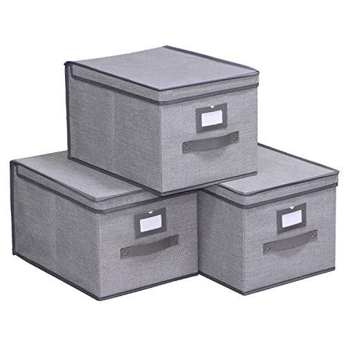 Oferta de homyfort Set de 3 Cajas de Almacenaje Cubos de Tela Organizador Plegable con Tapa 30 x 40 x 25 cm, Gris Lino, 7XDLB03PLP