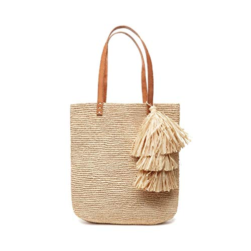Mar Y Sol Carolina Tassel Crocheted Raffia Slim Tote Bag (Natural)