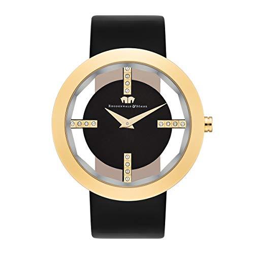 Rhodenwald & Söhne Lucrezia Damenuhr Edelstahl Gold 3 ATM verziert mit Kristallen von Swarovski® Lederarmband schwarz - Fashion-Uhr für Frauen in Skeletonoptik