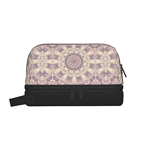 Bolsas de aseo Crema y lavanda Morado Mandala Neceser para maquillaje Estuche para maquillaje Organizador para colgar de viaje con bolsa de cosméticos separada seca y húmeda