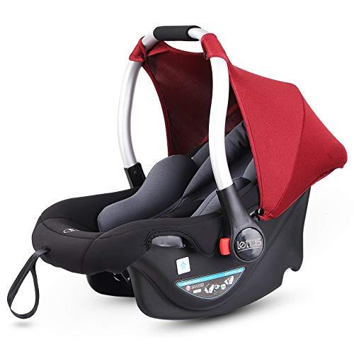 LETTAS Asiento de coche, grupo 0+ Silla para bebé de coche (de 0 a 13 kg, 0-15 meses) con sistema de arnés de 3 puntos, ligero homologada R44 04