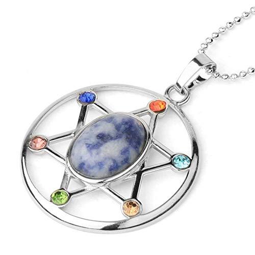 QUWE Stone Necklace,Vintage Elegant White Dot Blue Star Of David Shape Pendant Silver Unisex Bead Chain Men Women Energy Balance Birthstone Gem Jewelry Gifts