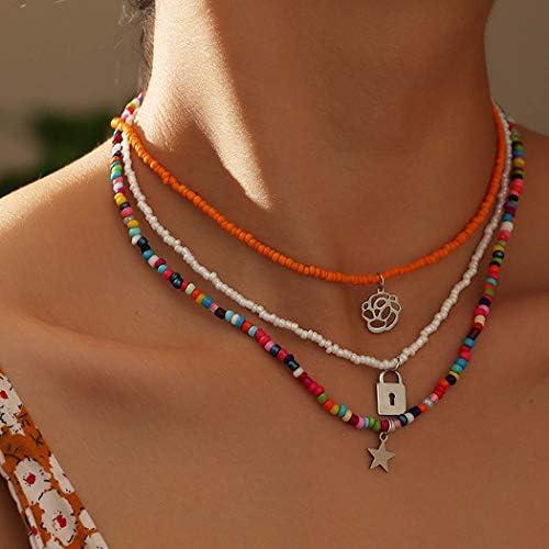 Masiter Boho Layered Beaded Necklace Rainbow Colorful Beads Choker Flower Lock Star Pendant product image