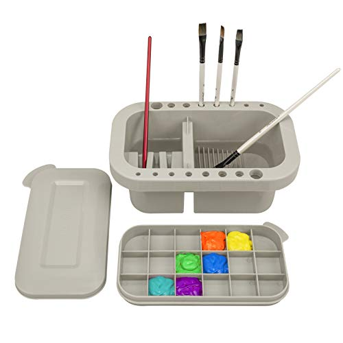MyLifeUNIT Paint Brush Cleaner, Paint Brush Holder and Organizers with Palette for Acrylic, Watercolor, and Water-Based Paints (Grey)