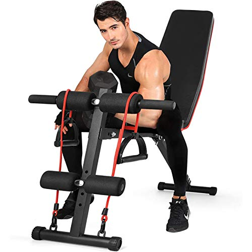 Weight Bench for Full Body Workout, 7 Position Adjustable Workout Bench With Adjustable Back Pillow Multi-Purpose Foldable Incline Decline Strength Fitness Training Exercise with Resistance Band