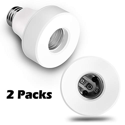 Zenic Wifi Smart Bulb Socket Compatible with E26 E27, WiFi Light Bulb Base Adapter, No Hub Required, Compatible with Alexa/Google Home (2 Pack)