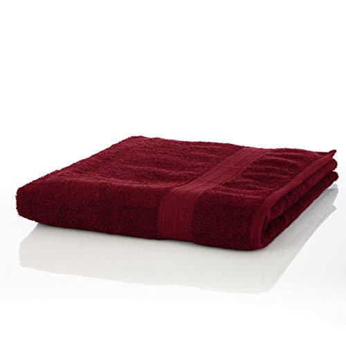 Lumaland Premium 1 Saunatuch 90 x 200 cm aus 100% Baumwolle 600 g/m² Komfortables für Damen und Herren Kirsch