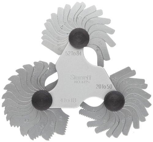 Starrett Medidor de paso de tornillo 473 con dispositivo de bloqueo, 6-60 hilos por pulgada, 30 hojas