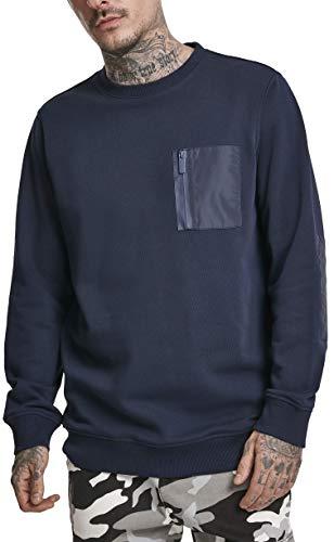 Urban Classics Herren Military Crew Pullover, Blau (Midnight 01641), X-Large (Herstellergröße: XL)