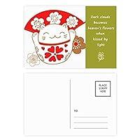 ラッキーフォーチュンキャットは日本の桜 詩のポストカードセットサンクスカード郵送側20個