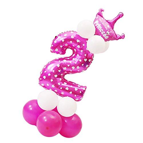 MagiDeal Zahlenballon mit Zahl 0-9 Latexballon Riesenzahl Luftballon Folienballon Baby Mädchen Dusche Party Kindergeburtstag Deko - Nummer 2