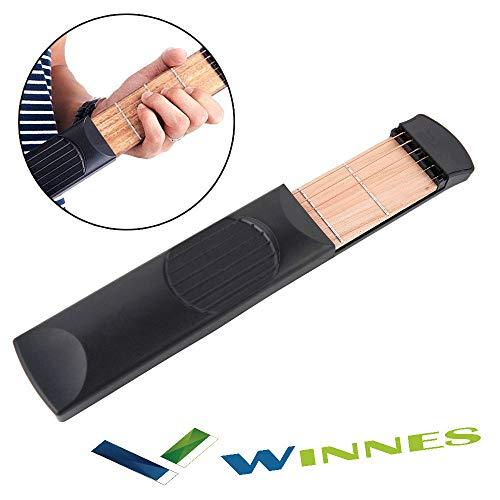 Winnes Taschengitarre Übungswerkzeug Tragbarer Akkord Trainer Gitarre Fingerübungen & Akkorde Übungswerkzeug 6 String 6 Fret