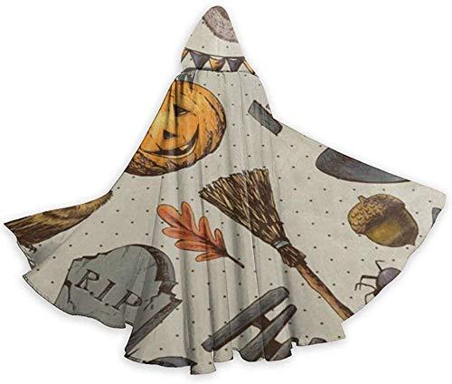 Disfraces de Halloween Capas con Capucha Capa de túnica Vintage Feliz Halloween Blanco y Negro Boo Fantasma Disfraz de Cosplay Mujeres Hombres-Vintage Calabaza de Halloween Búho-OneSize