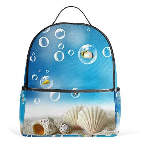Rucksack 14,96 * 8,66 * 1,1 Blue Beach Seashells Ocean Blister School s für Jungen Mädchen Bookbag