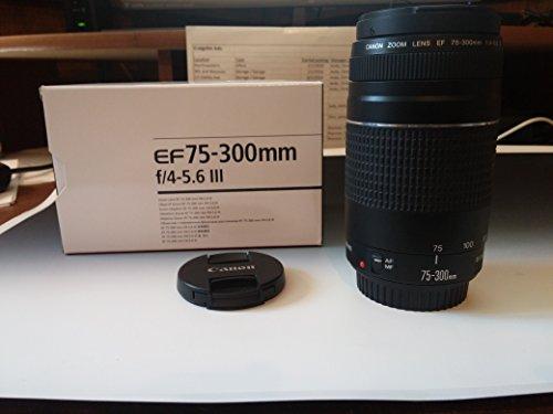Canon EF 75–300mm f/4–5.6III teleobjetivo Zoom para Canon EOS 7d, 60d, EOS 70d Rebel SL1, T1i, T2i, T3, T3i, T4i, T5, T5i, XS, XSi, XT, y XTi Digital SLR Cámaras con Accesorios
