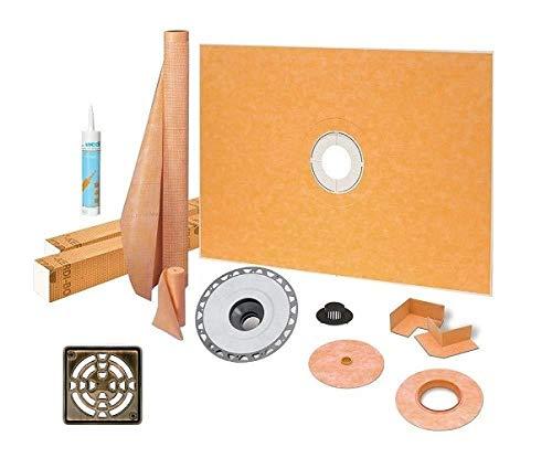 "Schluter Kerdi Shower Kit 38"" x 60"" Center Shower Tray (KSK965/1525) with 2"" PVC Bonding Flange, Strainer, Joint Sealant and 4"" Stainless Steel Oil-Rubbed Bronze Grate"