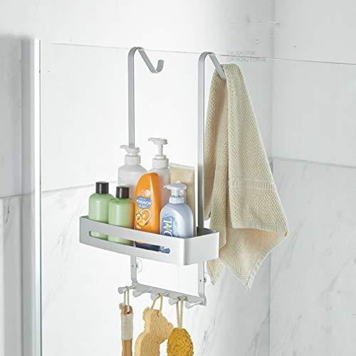 Cesta de ducha colgante de acero inoxidable, 2 niveles de almacenamiento, grandes cestas de ducha de baño con 2 ganchos para toallas, hecho de metal duradero, para botellas altas