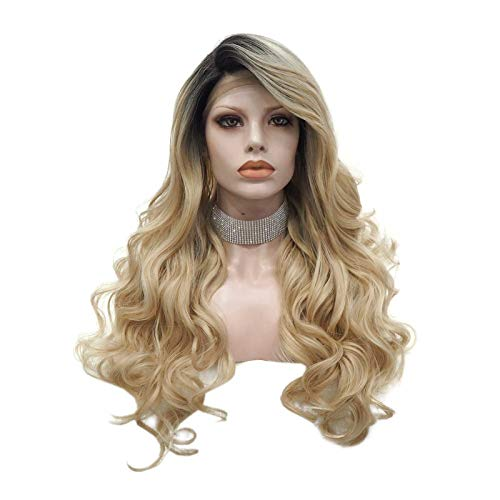"Imstyle Blonde Lace Front Wig Long Body Wave Synthetic Hair Blonde Rooted Wig with Realistic Hairline Free Parting Wig Caps 24"" Hair"