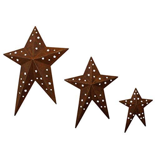 CVHOMEDECO. Primitives Rustic Vintage Gifts Estrellas de Granero de Metal Perforadas para decoración de Pared/Coronas/ramitas, 20,3/15,2/10,2 cm, Juego de 3, Oxidado