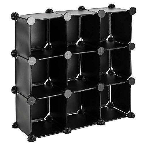 PrimeMatik - Armario Organizador Modular Estanterías de 9 Cubos de 17x17cm plástico Negro